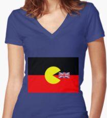 Australische Aborigines-Flagge Shirt mit V-Ausschnitt