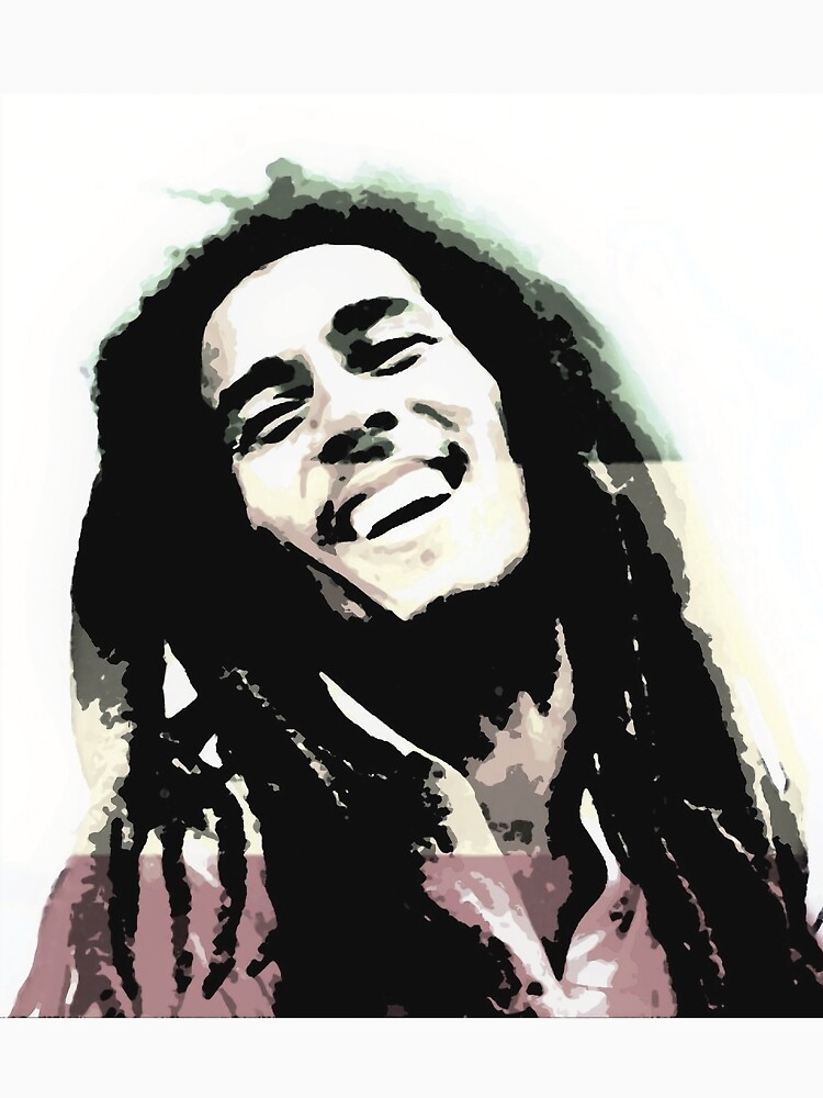 Bob Smiling Mar ley in Reggae Vibes Art Print by rabriel