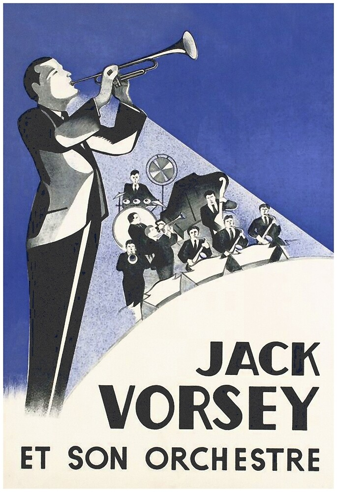 Vintage Trumpet Player Music Poster by vintagevivian