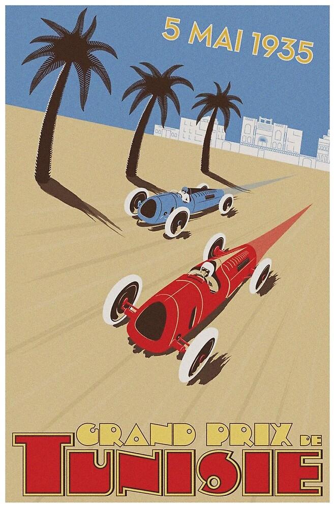 Tunisia Car Race Vintage Poster by vintagevivian