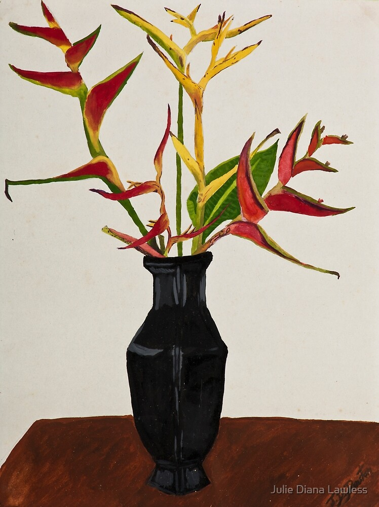 Heliconia in black vase by Julie Diana Lawless