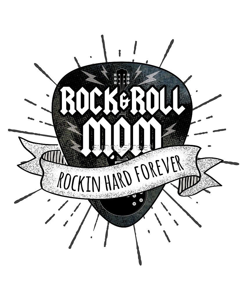 Rock And Roll Mom Grunge Guitar Pick by SunnyStreet