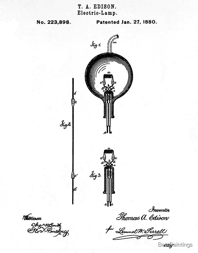 Light bulb Edison patent by BestPaintings