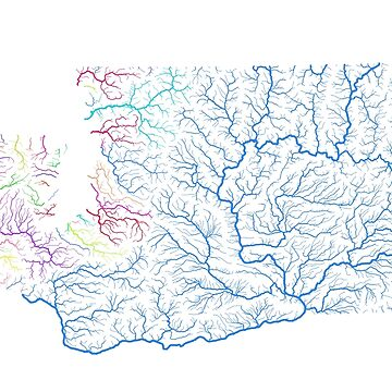 River basins of Washington in rainbow colours by GrasshopperGeo