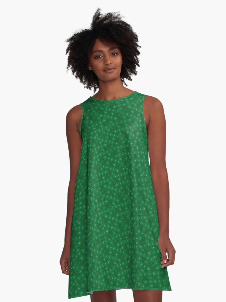 Green Nature Signs A-Line Dress Front