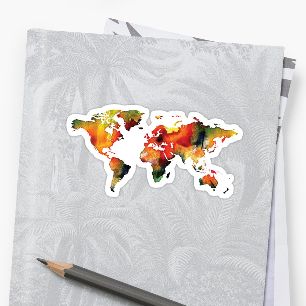 watercolor world map hot color by PineLemon