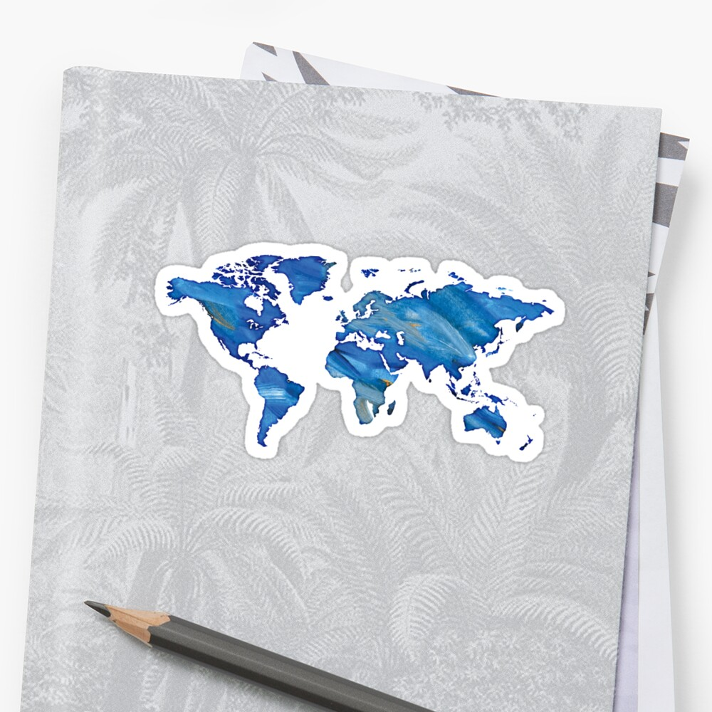 watercolor world map blue color by PineLemon