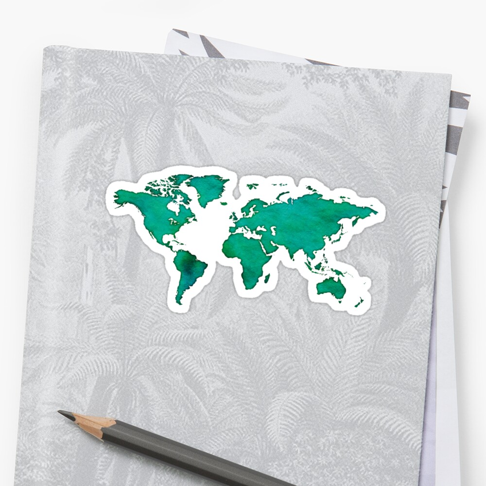 watercolor world map green by PineLemon
