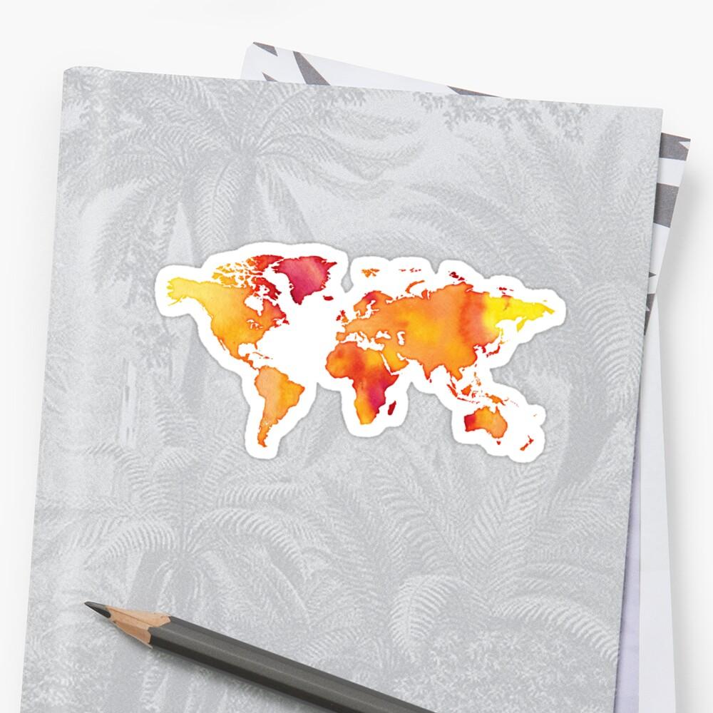 watercolor world map yellow orange sun by PineLemon