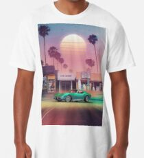 Synthwave-Sonnenuntergang-Antrieb Longshirt