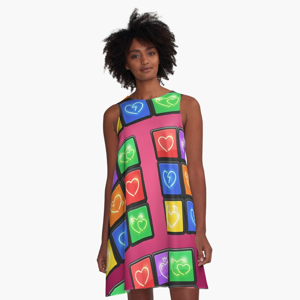 Rubik's Cube with Love Puzzle A-Line Dress Front
