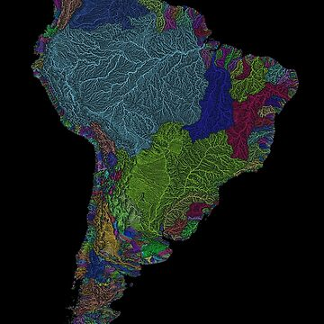 River basins of South America in rainbow colours by GrasshopperGeo