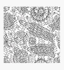 Contour Seamless pattern with marine life Photographic Print