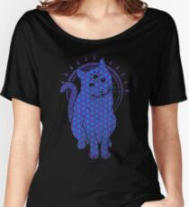 Trippy Cat: Blue Flower of life Edition Women's Relaxed Fit T-Shirt