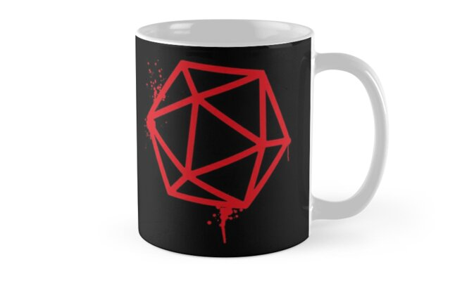 Red D20 Dice Spray Paint Mugs By Pixeptional Redbubble