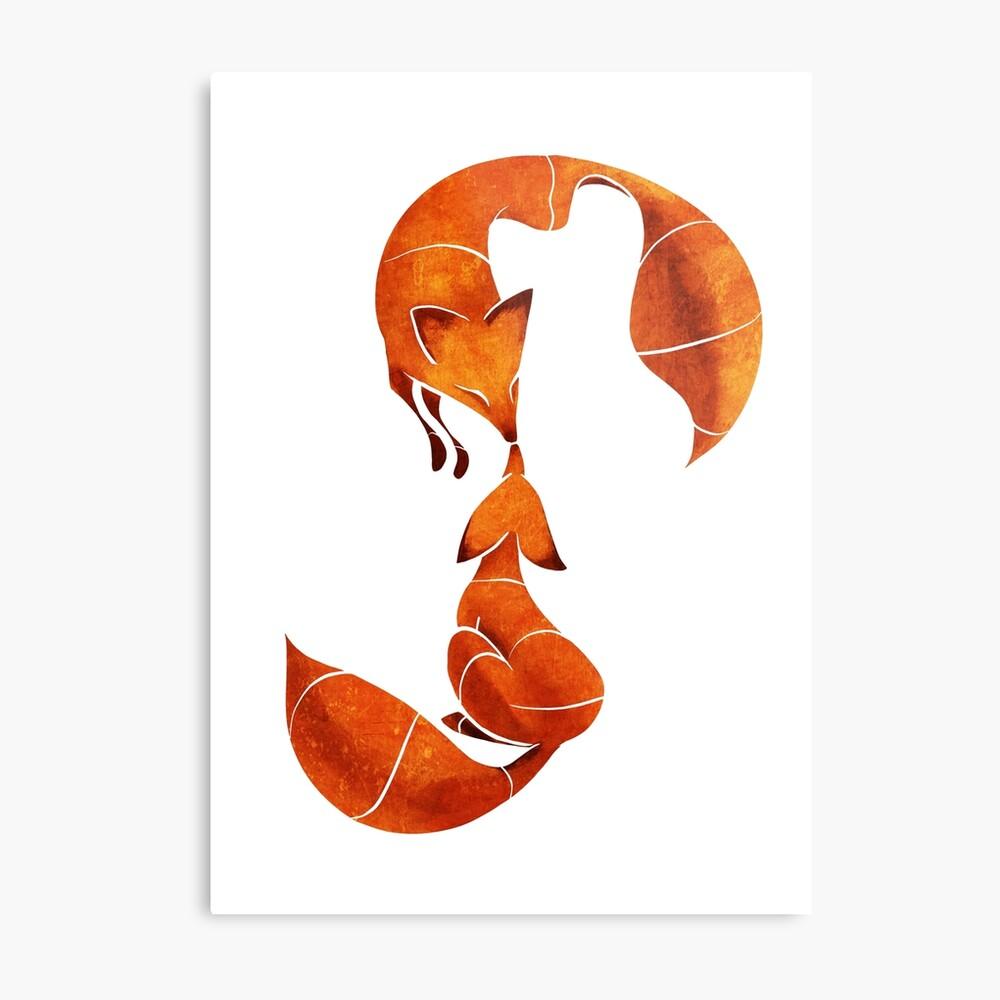 Kissing foxes Metal Print