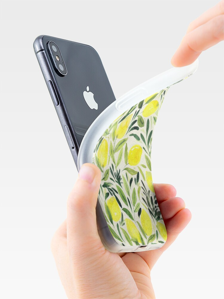 Alternate view of Lemons watercolor on creme white iPhone Case & Cover
