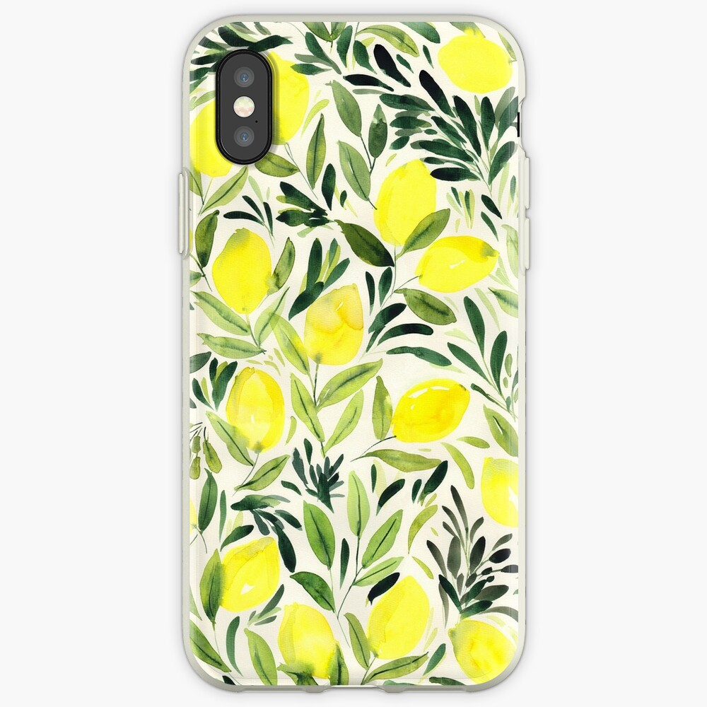 Lemons watercolor on creme white iPhone Case & Cover