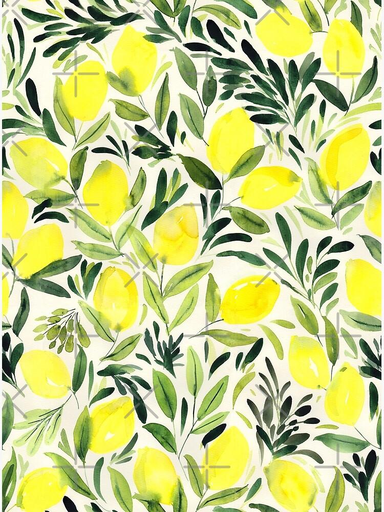 Lemons watercolor on creme white by Nozzas