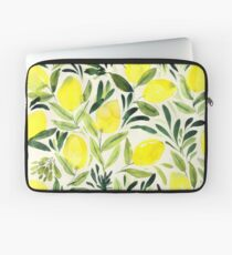Lemons watercolor on creme white Laptop Sleeve