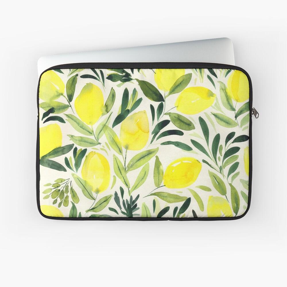 Lemons watercolor on creme white Laptop Sleeve