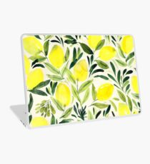 Lemons watercolor on creme white Laptop Skin