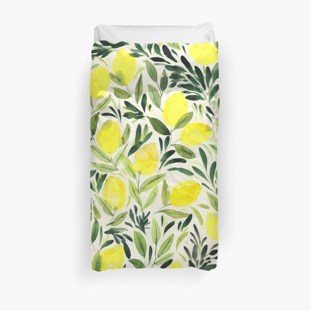 Lemons watercolor on creme white Duvet Cover