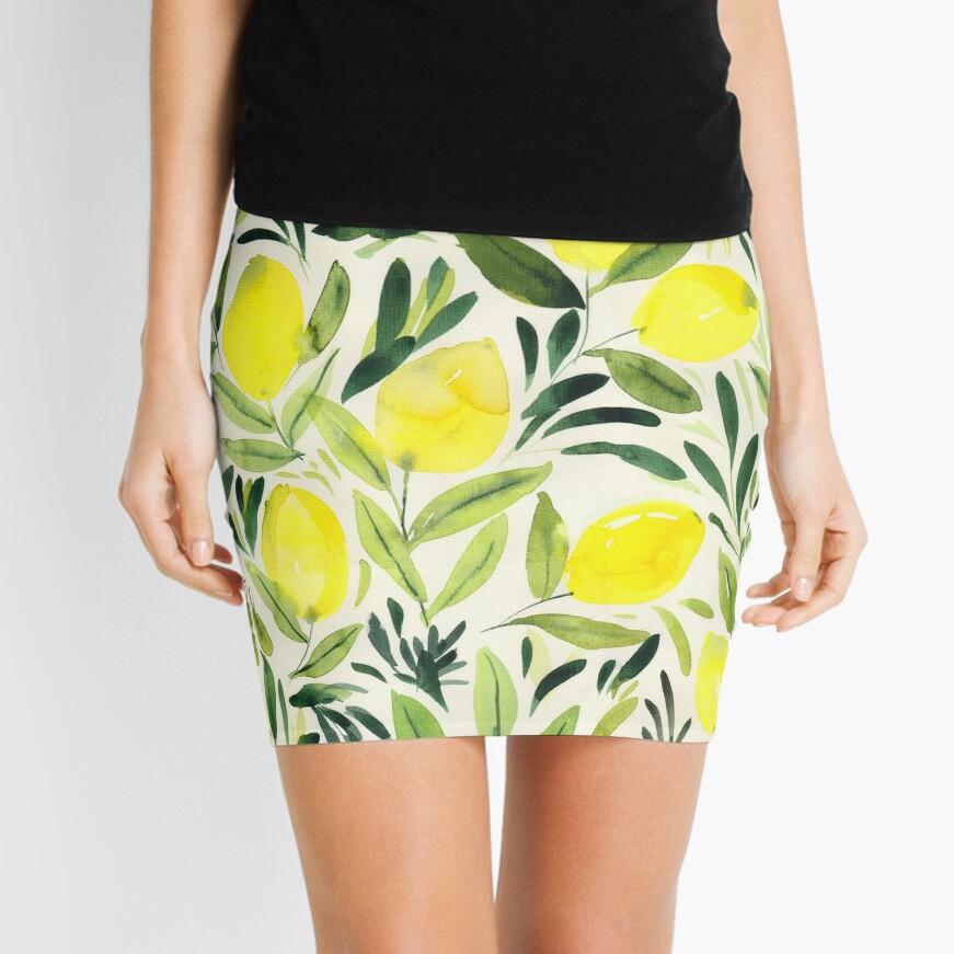 Lemons watercolor on creme white Mini Skirt