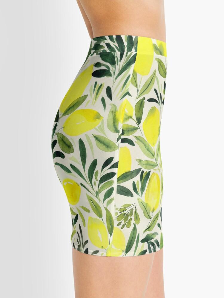 Alternate view of Lemons watercolor on creme white Mini Skirt