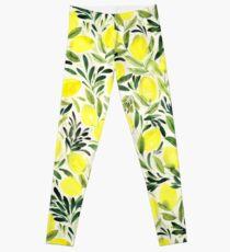 Lemons watercolor on creme white Leggings