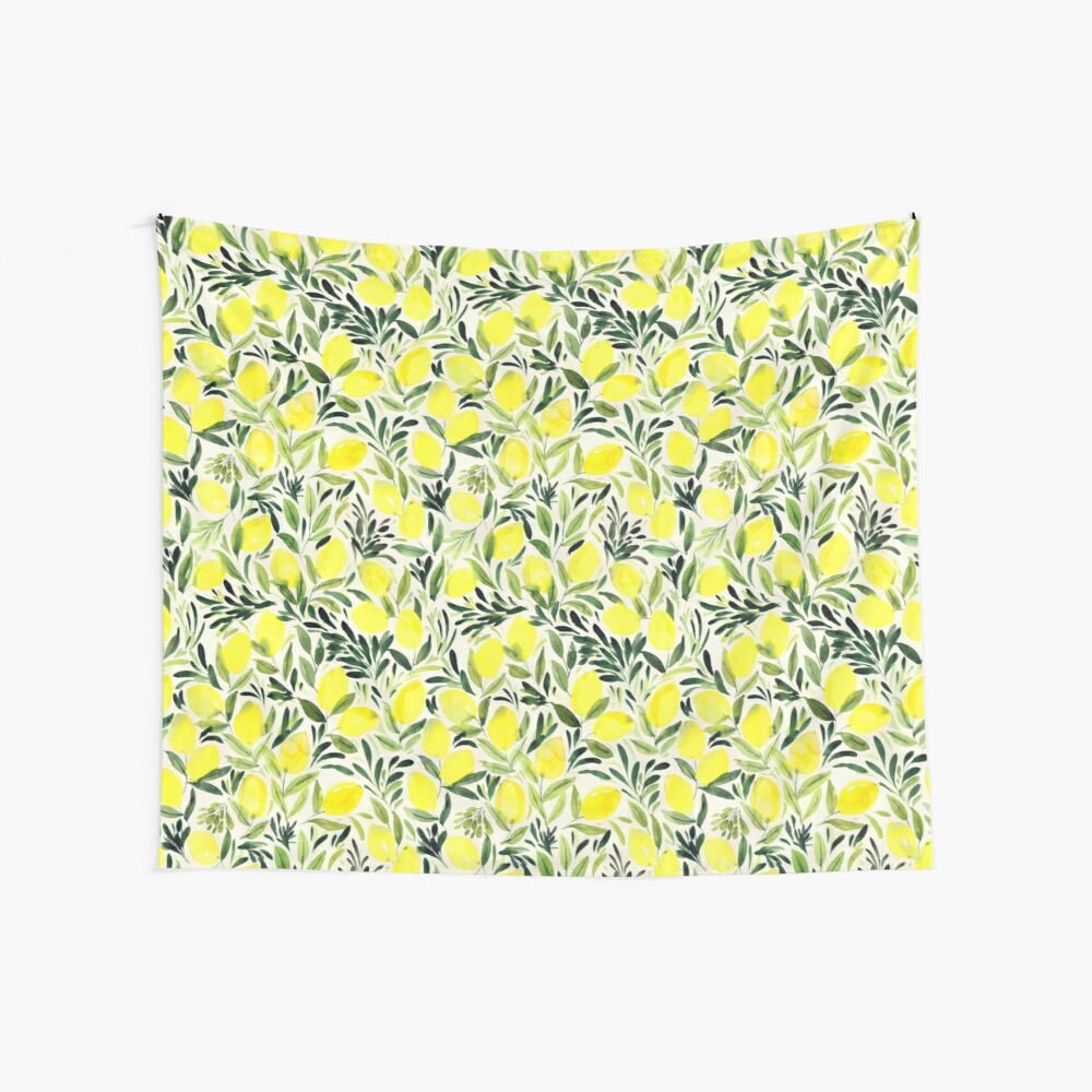 Lemons watercolor on creme white Wall Tapestry