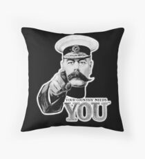 World War One, Lord Kitchener, WW1, Your Country needs you! Recruitment Poster, on BLACK. Floor Pillow