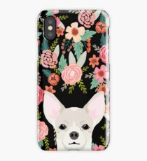 Chihuahua face floral dog breed cute pet gifts pure breed dog lovers chihuahuas iPhone Case