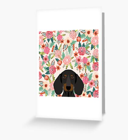 Dachshund floral dog head cute doxie must have pure breed weener dog gifts Greeting Card