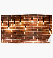 Background brick wall and decorative incandescent lamps Poster