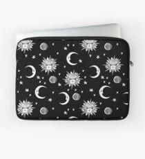 Linocut Schwarzweiss-Sonne Mond und Sterne Weltraum Astrologie-Geschenke Laptoptasche
