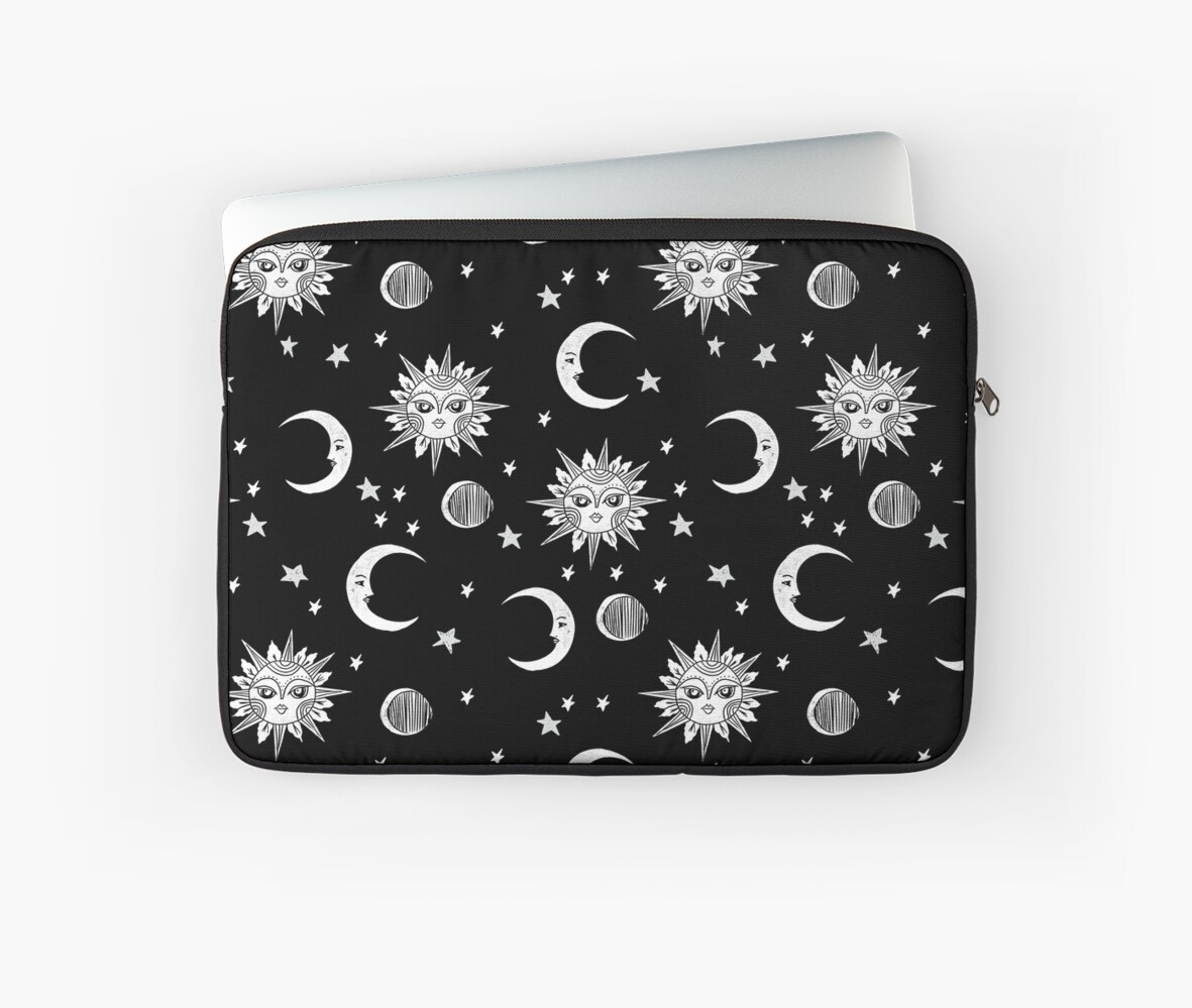Linocut black and white sun moon and stars outer space zodiac astrology gifts by monooprints