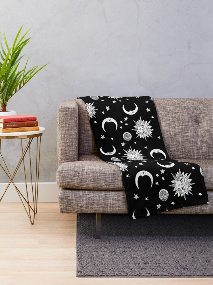 Alternate view of Linocut black and white sun moon and stars outer space zodiac astrology gifts Throw Blanket