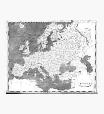 Vintage Map of Europe (1804) BW Photographic Print