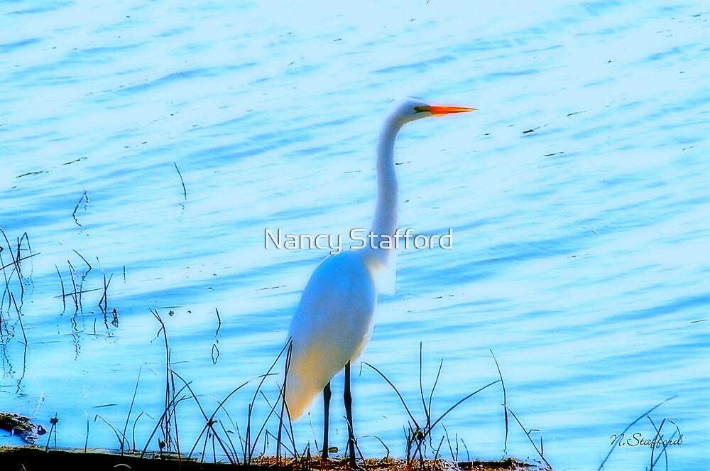 Great Egret Delight by Nancy Stafford