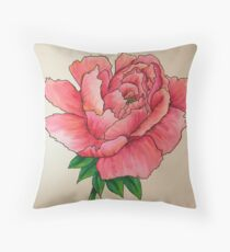 Unraveling Peony Throw Pillow