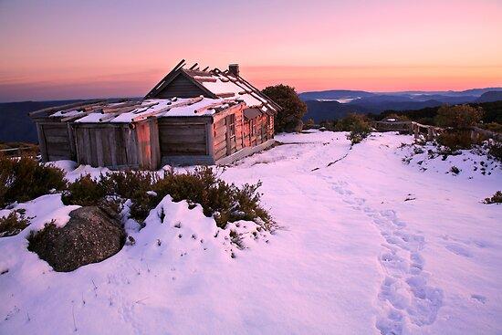 Winter Sunrise over Craig's Hut, Mt Stirling, Australia by Michael Boniwell