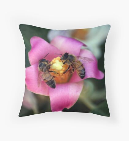 Bees Happy Throw Pillow