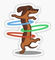 Funny Dachshund HulahoopTshirt - Dog Gifts for Doxie and Sausage Dog Lovers Sticker