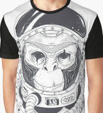 astronaut monkey,black\White Graphic T-Shirt