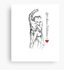 Lets Dance Valentine, couple dancing with love heart motif & quote Canvas Print