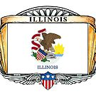 Illinois Art Deco Design with Flag by Cleave
