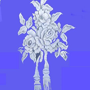 White Roses on Blue by MaeBelle