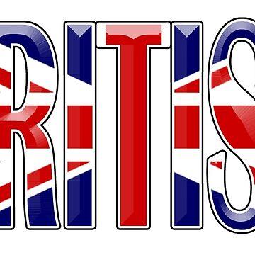 BRITISH, Britain, GB, England, Scotland, Ireland, Wales. UK. On WHITE by TOMSREDBUBBLE