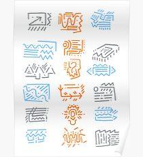 Icons: Blue, Orange, Grey Poster